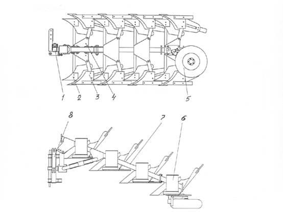 Схема плуга ПНМ-3/4-30/45: