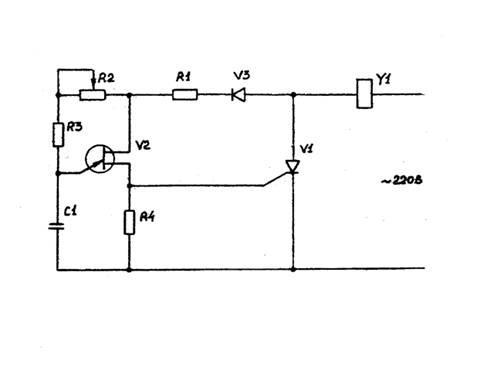 Схема управления выполнена на однопереходном транзисторе v2 и представляет собой генератор.