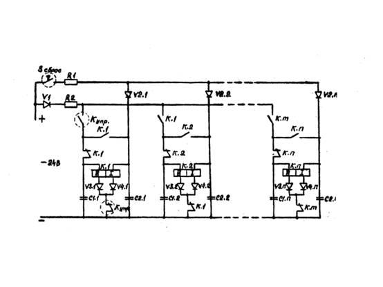 Электрическая схема двоичного счетчика на дистанционных переключателях.